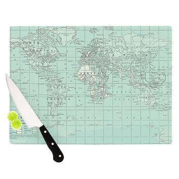 "Catherine Holcombe ""The Old World"" Blue Teal Cutting Board"
