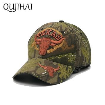 Trendy Winter Jacket QUJIHAI TEXAS Baseball Cap Cowboy Snapback Caps Men Soldier Hat Camouflage Army Green Gorras Bone Casquette AT_92_12