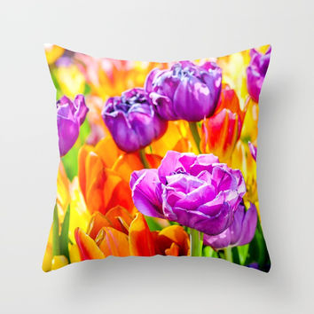 Tulips Enchanting Purple Throw Pillow by digital2real