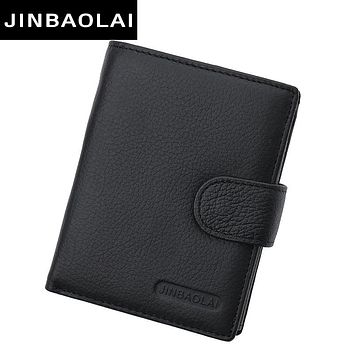 Multi Function Leather Wallet Men With Coin Pocket Business Wallets Hasp Design Genuine Leather Male Wallets Coin Purse