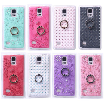Fashion Finger Ring Stand PU Bling Glitter Shimmering Case Cover For Samsung galaxy Note4 Back capa Fundas Coque Phone Shell