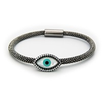 Fronay Co Evil  Eye Bracelet| Sterling Silver Black Rhodium