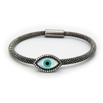 Gunmetal Black Evil Eye Bracelet