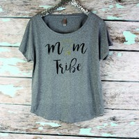 Mom Tribe Slouchy off shoulder womens shirt, Mothers Day Gift