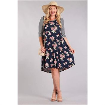 Floral print, midi length relaxed fit dress