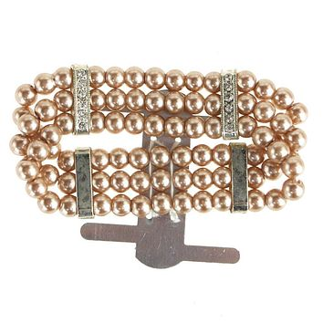 Corsage Wristlet with Pearl Band, Gold, 3/4-Inch
