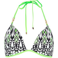 River Island Womens Lime geo print molded triangle bikini top
