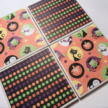 Halloween Themed and Polka Dots Ceramic Coasters - set of 4