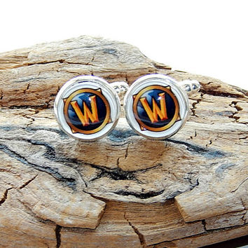 World of Warcraft logo earrings cufflinks, World of Warcraft symbol, WOW emblem, WOW video game, WOW patch, World of Warcraft mens jewelry