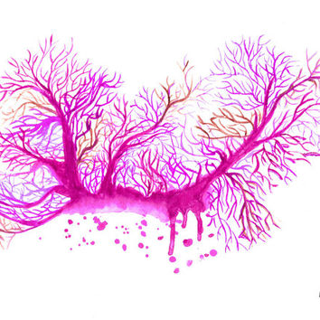 Watercolor Coral Reef- Fuchsia