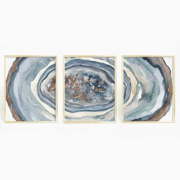 Abstract Watercolor Agate Mineral Triptych Wall Art Print