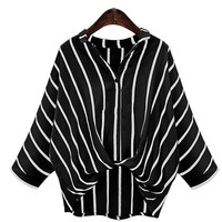 Summer Tops Fashion V-neck Long Sleeve Striped Women Shirts Casual Loose Linen Blouse Plus Size blusas femininas JM8986