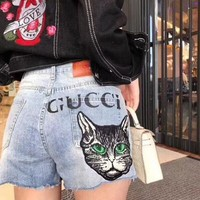 Gucci Popular Woman Personality Cat Letter Print Denim Shorts Jeans
