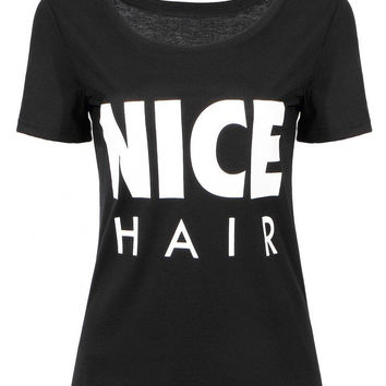 "Black T-Shirt with ""Nice Hair"" Letter Print"