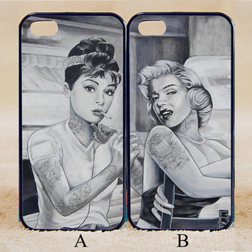Marilyn Monroe and Audrey Hepburn,Custom Case, iPhone 4/4s/5/5s/5C, Samsung Galaxy S2/S3/S4/S5/Note 2/3, Htc One S/M7/M8, Moto G/X