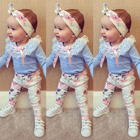 Floral Baby Girls Clothes Long Sleeve T-shirt Lace + Pants Casual Flower Cotton Headband 3pcs Outfits Baby Girl Clothes Set