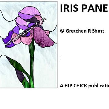Iris Window Panel, Stained Glass Patterns, PDF, Original Designs, Patterns & Tutorials, Glass Art Kits, Craft Supplies, Hip Chick Glass