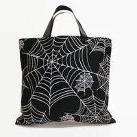 Reusable Fabric Trick or Treat Bag-- Spider Web Print with Satin Ribbon