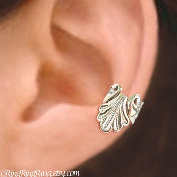 925. Seashell  - Sterling Silver ear cuff earring, Non pierced mermaid shell earcuff jewelry 062113