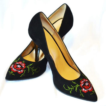 Stiletto Shoes craftmanship Stiletto Red shoes Stiletto Flower Pumps Shoes
