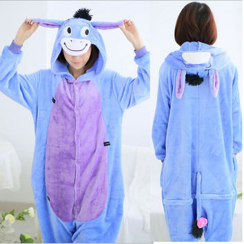 New Year 2015 Men Women Winter Spring Fleece Kawaii Cute Adult Animal Couples Onesuit Pajamas Costume Donkey Eeyore Onesuit