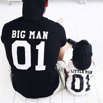 Spring Summer Family Matching Clothes Dad Son Outfits Cotton Solid Color Printed Big Man Little Man T-shirt Men Boys T-shirt
