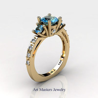 French 14K Yellow Gold Three Stone 1.0 Carat Blue Topaz Diamond Engagement Ring AR112-14KYGDBT