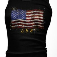 American Flag Women's Tank Top, Patriotic Boy Beater, Small, Black