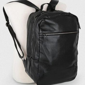 Nice New Korean Genuine Leather Men's Backpack Black Fashion Backpack Leather School Bag Bookbag Male Rucksack Male Knapsack
