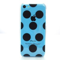 Etui Le Bon (tm) case for iPhone 5C. Crystal clear case with Black Polka Dots