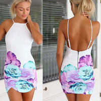 White Floral Print Halter Backless Mini Dress