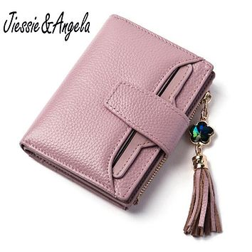 Jiessie & Angela New Genuine Leather Wallet Luxury Brand Women Small Wallets Female Solid Hasp Id Card Holder Pocket Cards Coin