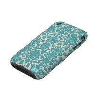 Turquoise French Damask Iphone 3 Tough Case from Zazzle.com
