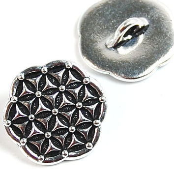TierraCast Antique Silver Round Flower of Life Button Focal -1