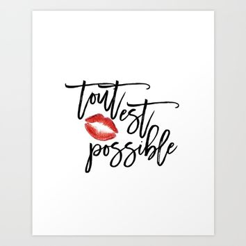 Inspirational Poster Red Lips Motivational Quote Wall Artwork French Quote Home Decor Room Poster    Art Print by MichelTypography