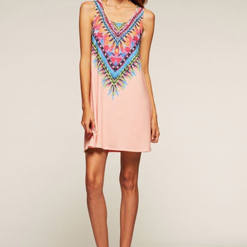 Tribal Print Sleeveless Dress - Blush