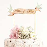 Custom Banner Wedding Cake Topper in Birch Mint Love Birds