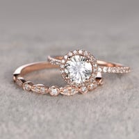 2 Moissanite Bridal Set,Engagement ring Rose gold,Diamond wedding band,14k,6.5mm Round Cut,Gemstone Promise Ring,Pave Set,Art Deco eternity