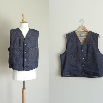 1970s Sears and Roebuck Denim Vest with Fleece Lining // Medium Large