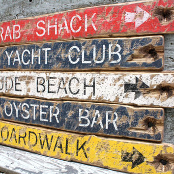Rustic Distressed Crab Shack, Oyster Bar, Yacht Club, Nude, Boardwalk Wood Nautical Beach Sign Set