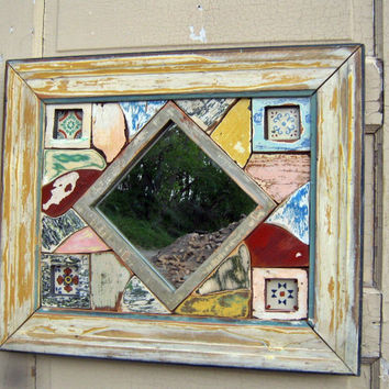 Reclaimed Wood Mosaic Art, Framed Mosaic Mirror, Salvaged Wood and Talavera Tiles