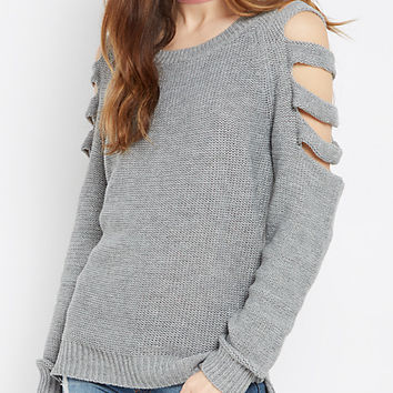 Gray Cut-Out Sleeve Sweater