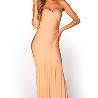 Marilyn Peachy Gold Maxi Bodycon Bandage Strapless Mermaid Gown