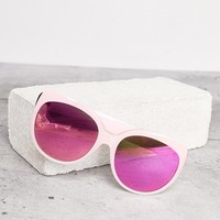 PINK MIRRORED ROUND SUNGLASSES