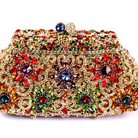 Milanblocks Luxury Dazzling Rhinestone Wedding Clutch Flower Hollow Cut Crystal Bridal Pruse
