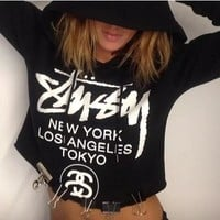 """STUSSY"" Hooded Tops Crop Top Long Sleeve Sweater Hoodie"