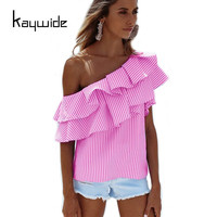 Kaywide 2017 Ruffles Off Shoulder Women Blouse Shirts Blue Pink Striped Irregular Sexy Tops Clothing Ladies Casual Summer Blusas