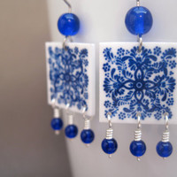 Blue and white Mexican tile earrings, Cobalt glass beads, Mexican jewelry, Cinco de Mayo fashion, Talavera tile, Chandelier earrings