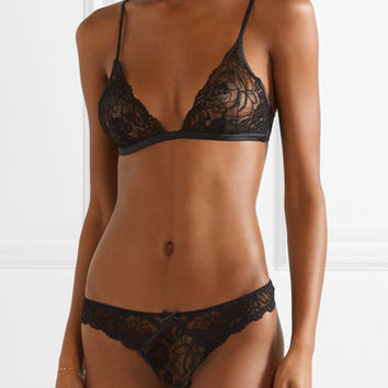 Fleur Du Mal - Chateau satin-trimmed corded lace soft-cup triangle bra