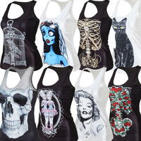 Free Shipping Summer New 2015 women t-shirt 3D Printed women's clothing Skull Camisole Women Clothing
